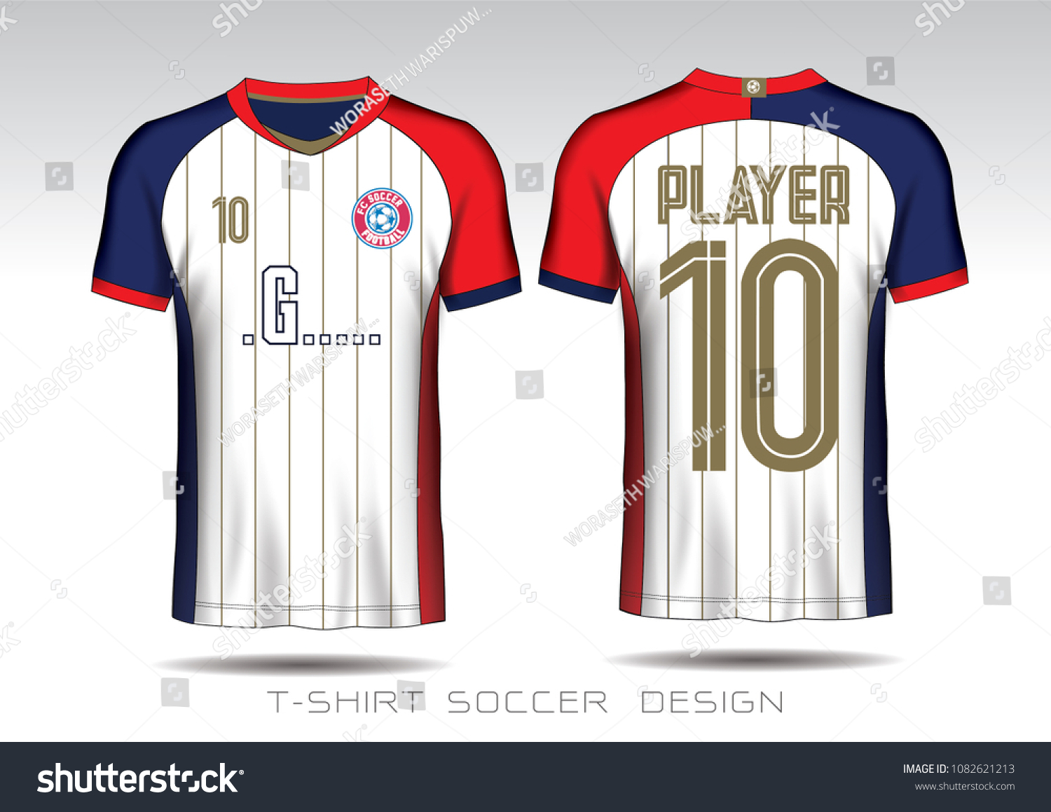 Soccer Jersey Template White Layout Football Stock Vector Royalty