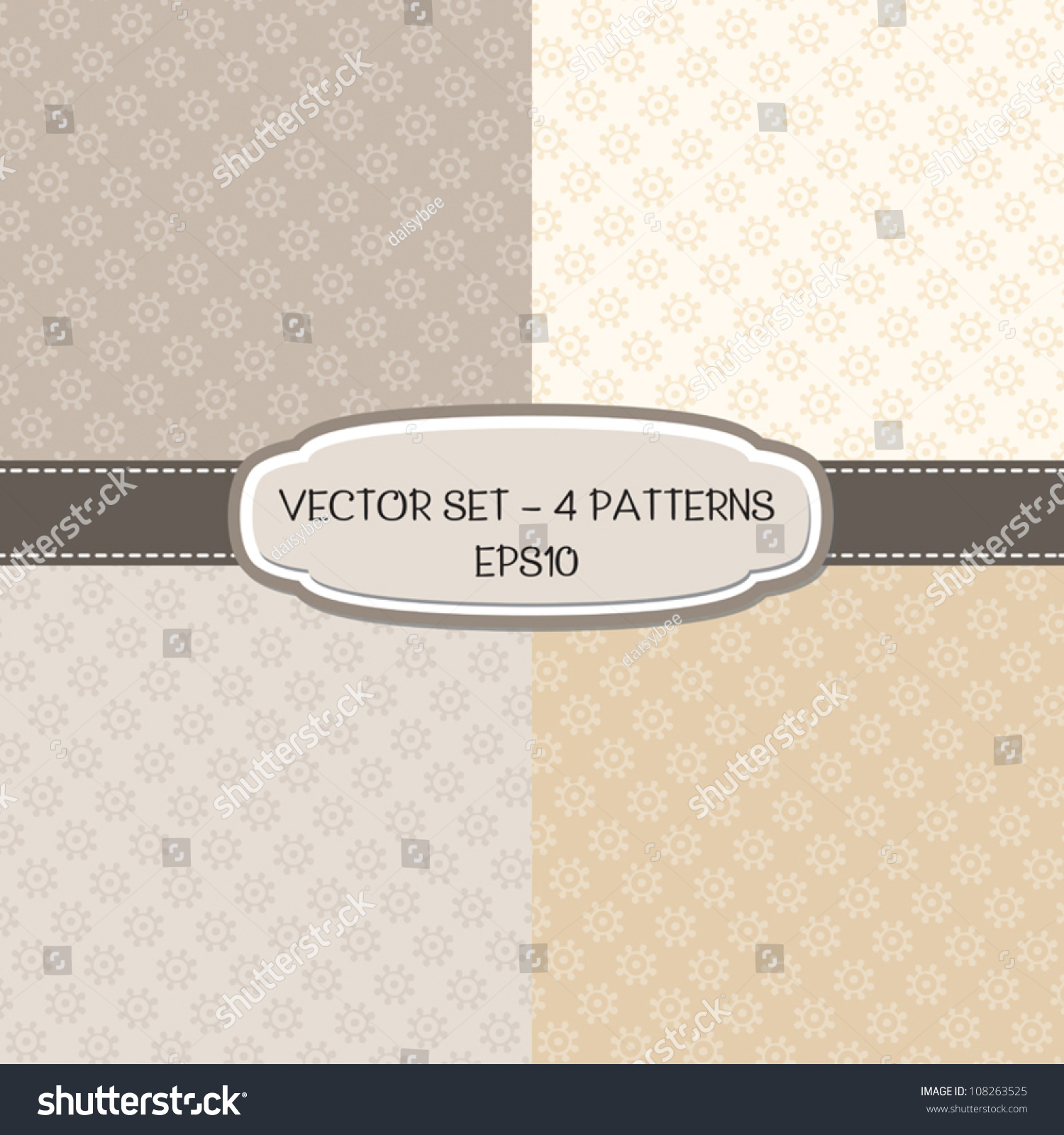 Vector Set Of 4 Background Patterns With Floral Print In Neutral Colors Great For Wedding