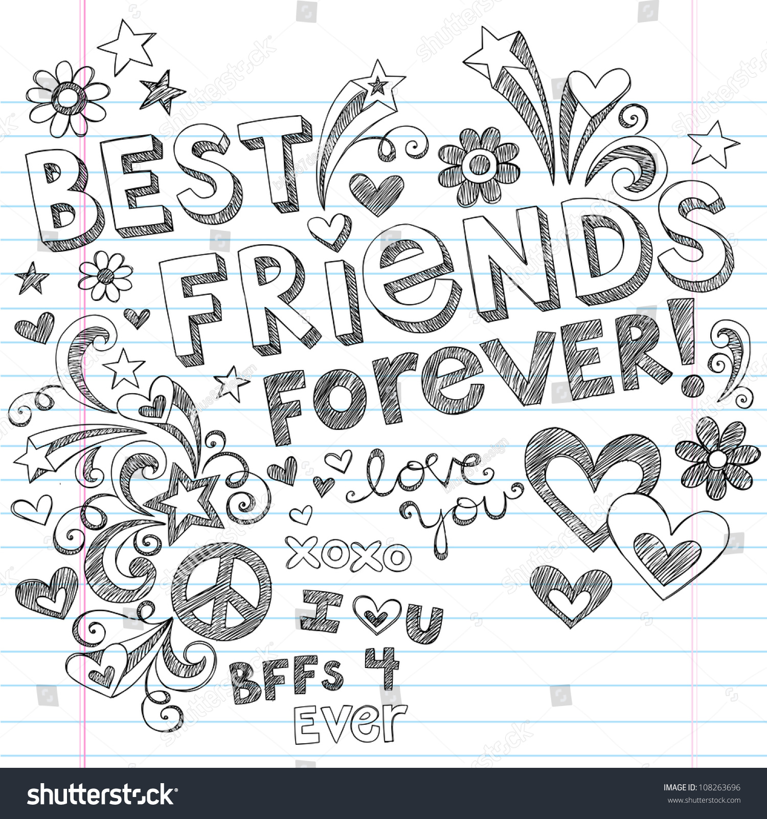 Hand drawn best friends forever love hearts sketchy back to school style notebook doodles design elements on lined sketchbook paper background vector