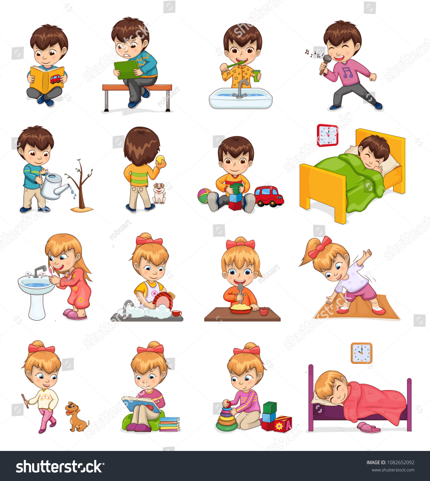 Female Male Collection Boy Girl Activities Stock Vector Royalty