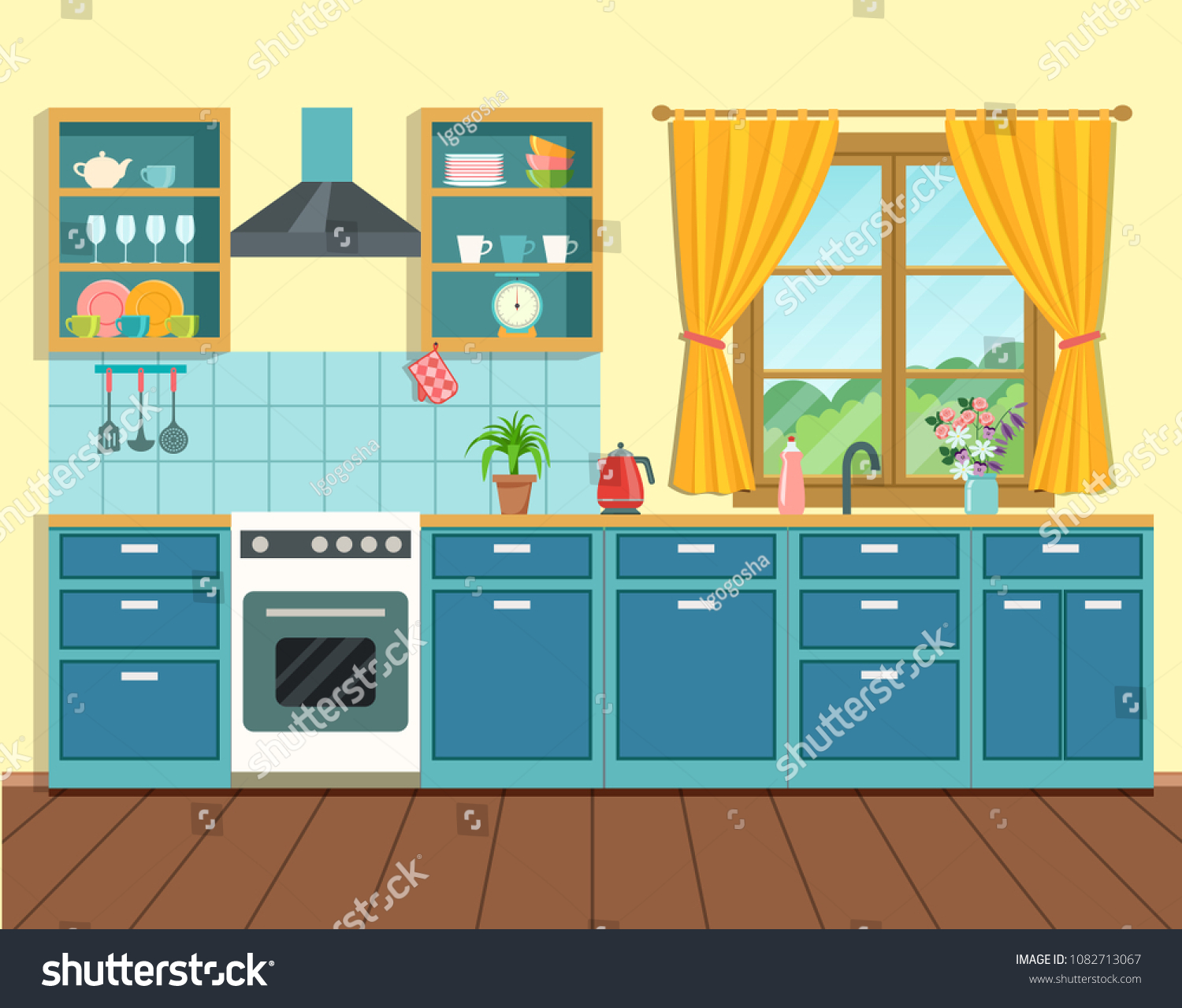 Cozy Interior Kitchen Rustic Style Window Stock Vector 1082713067 ...