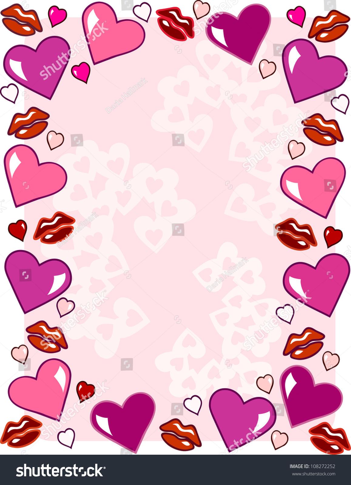 Valentines Day Stationery Border Design Stock Vector 108272252 ...