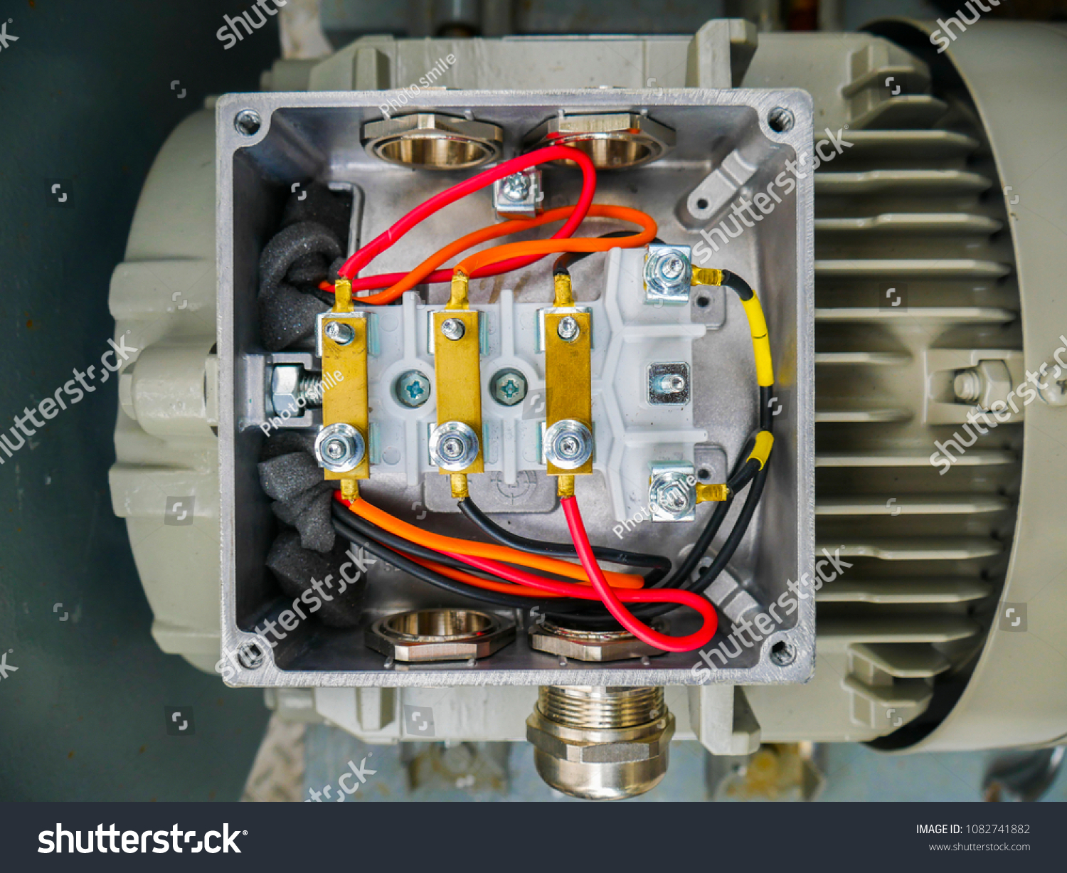 Close Electrical Cable Connecting Terminal Motor Stock Photo Edit Power Wiring Up Of With In Cover Box Induction