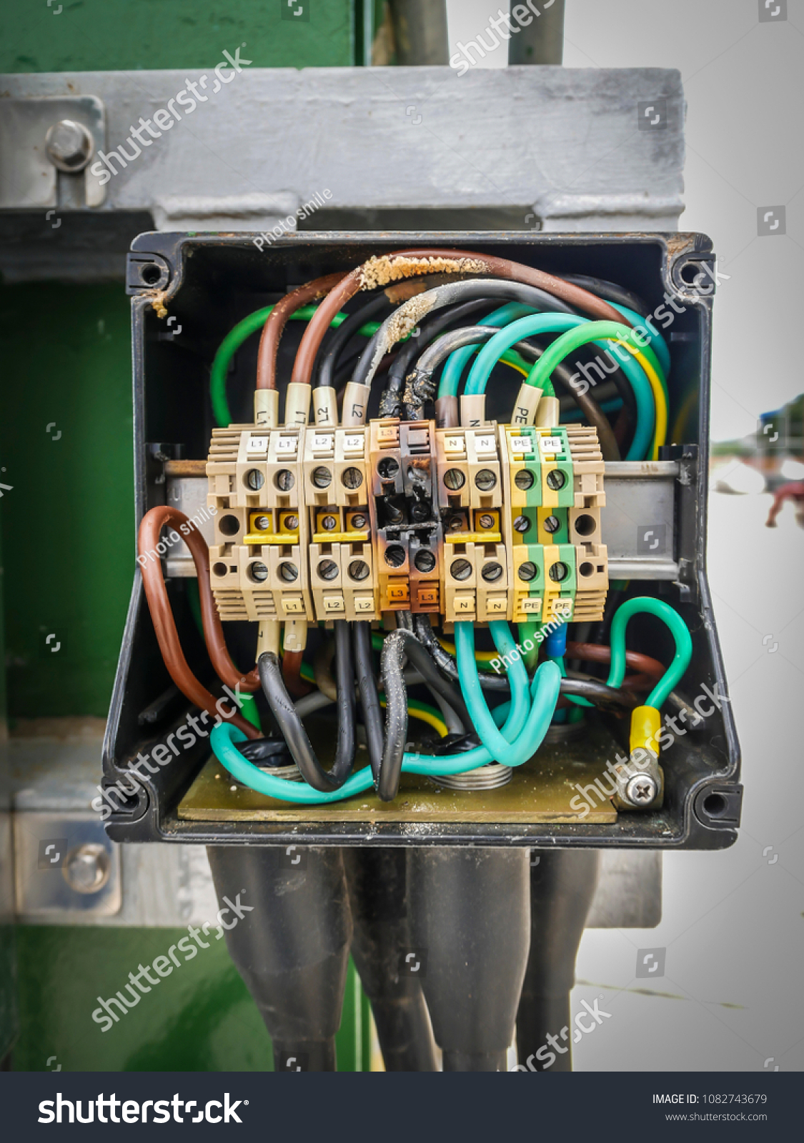Electrical Power Cable Terminal Burning Mild Stock Photo Edit Now How To Wire Junction Box And From Short Circuit In