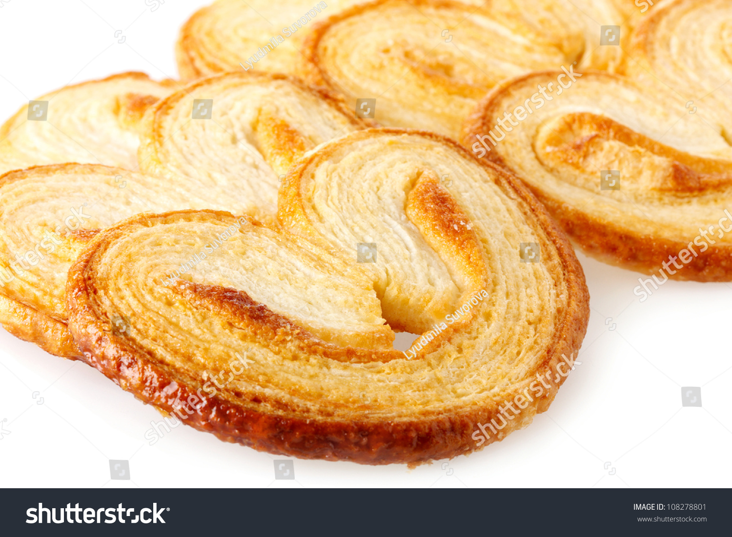 Palmiers (Elephant Ear), Puff Pastry Cookie Stock Photo 108278801 ...