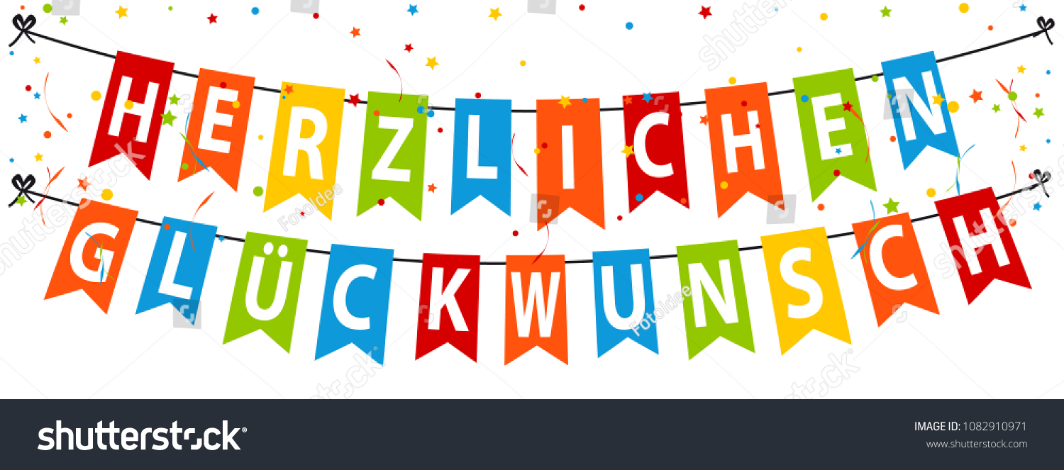 german party banner translation happy birthday colorful vector illustration isolated on white