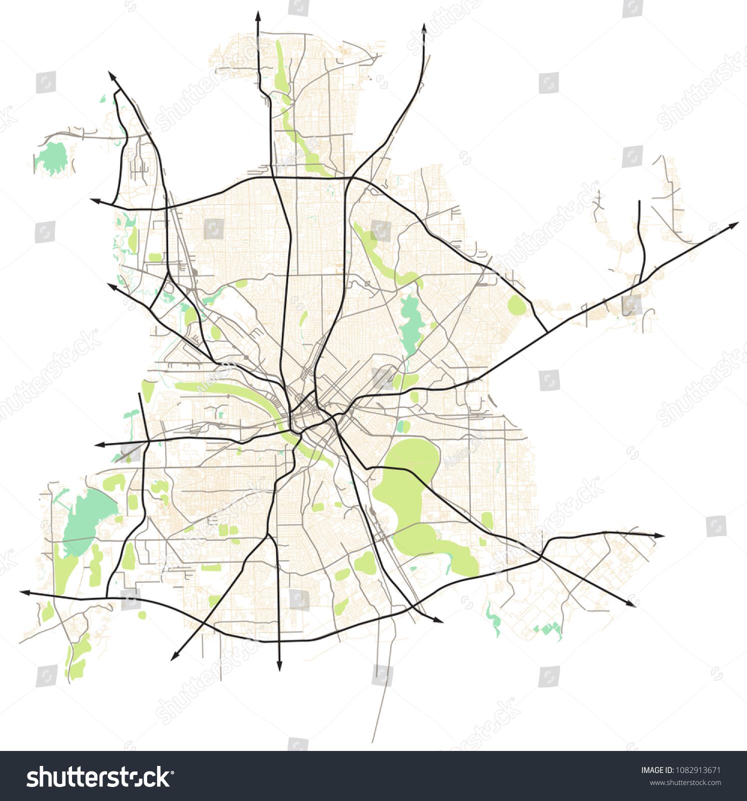 Dallas Texas Usa Map on