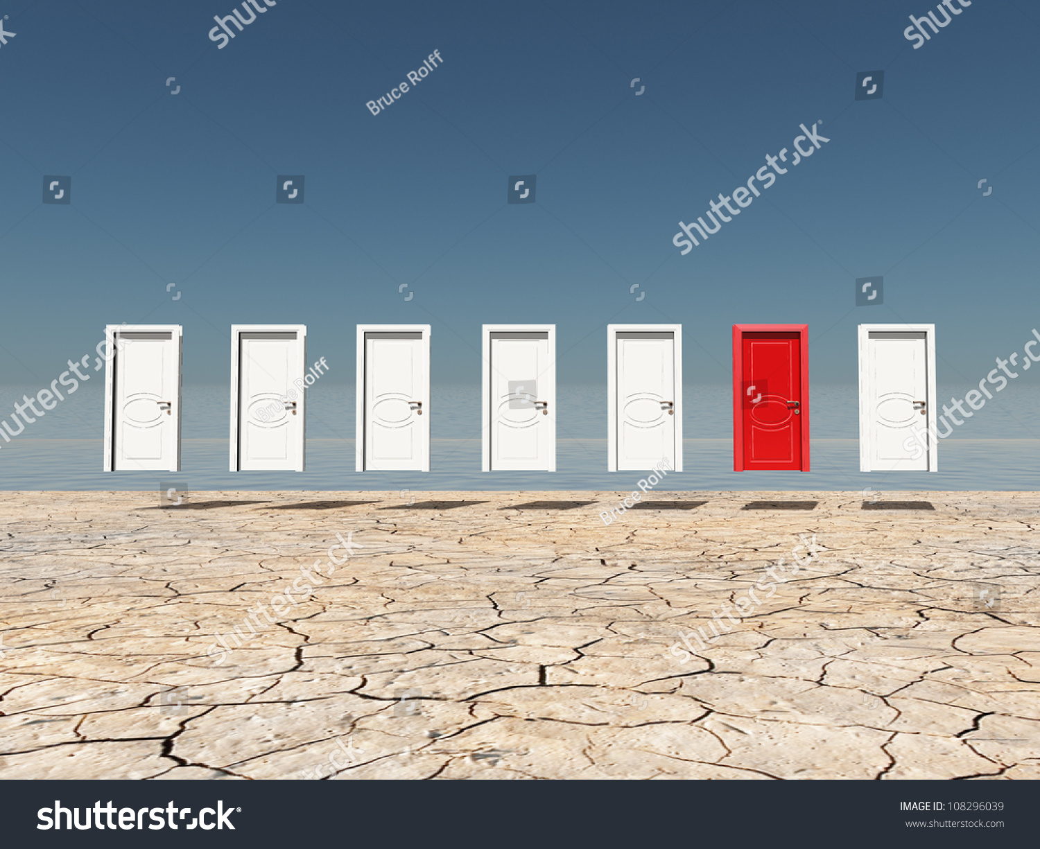 One red door among several floating doors in dry cracked landscape & One Red Door Among Several Floating Stock Illustration 108296039 ...