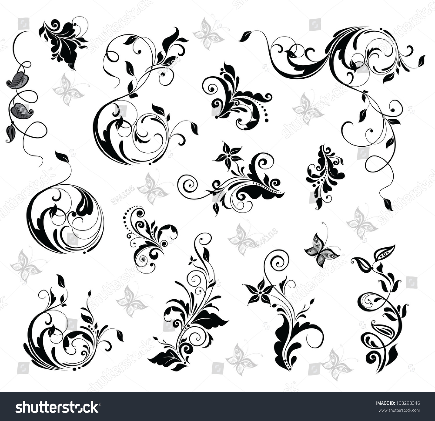 elegant floral design stock vector royalty free 108298346