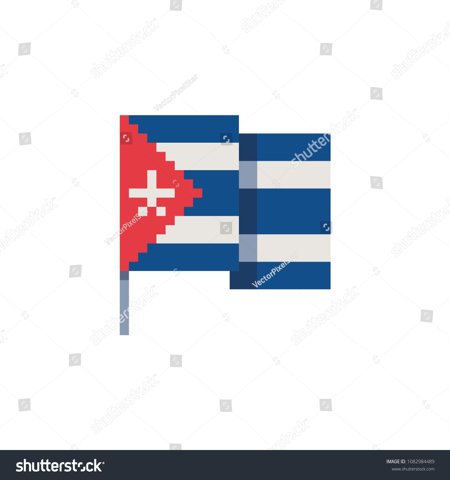 Cuba Flag Pixel Art Icon National Stock Vector Royalty Free
