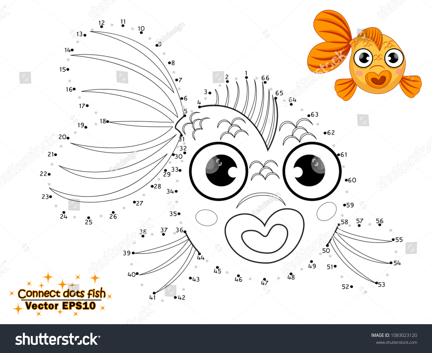 Connect the dots draw the cute cartoon fish and color educational game for kids