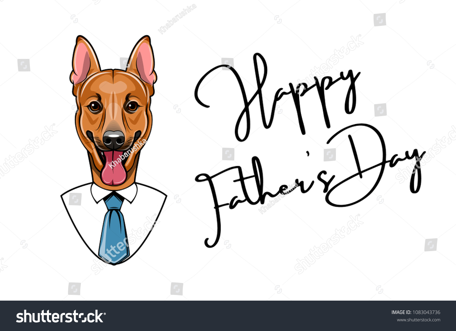 German Shepherd Dog Fathers Day Greeting Stock Vector Royalty Free