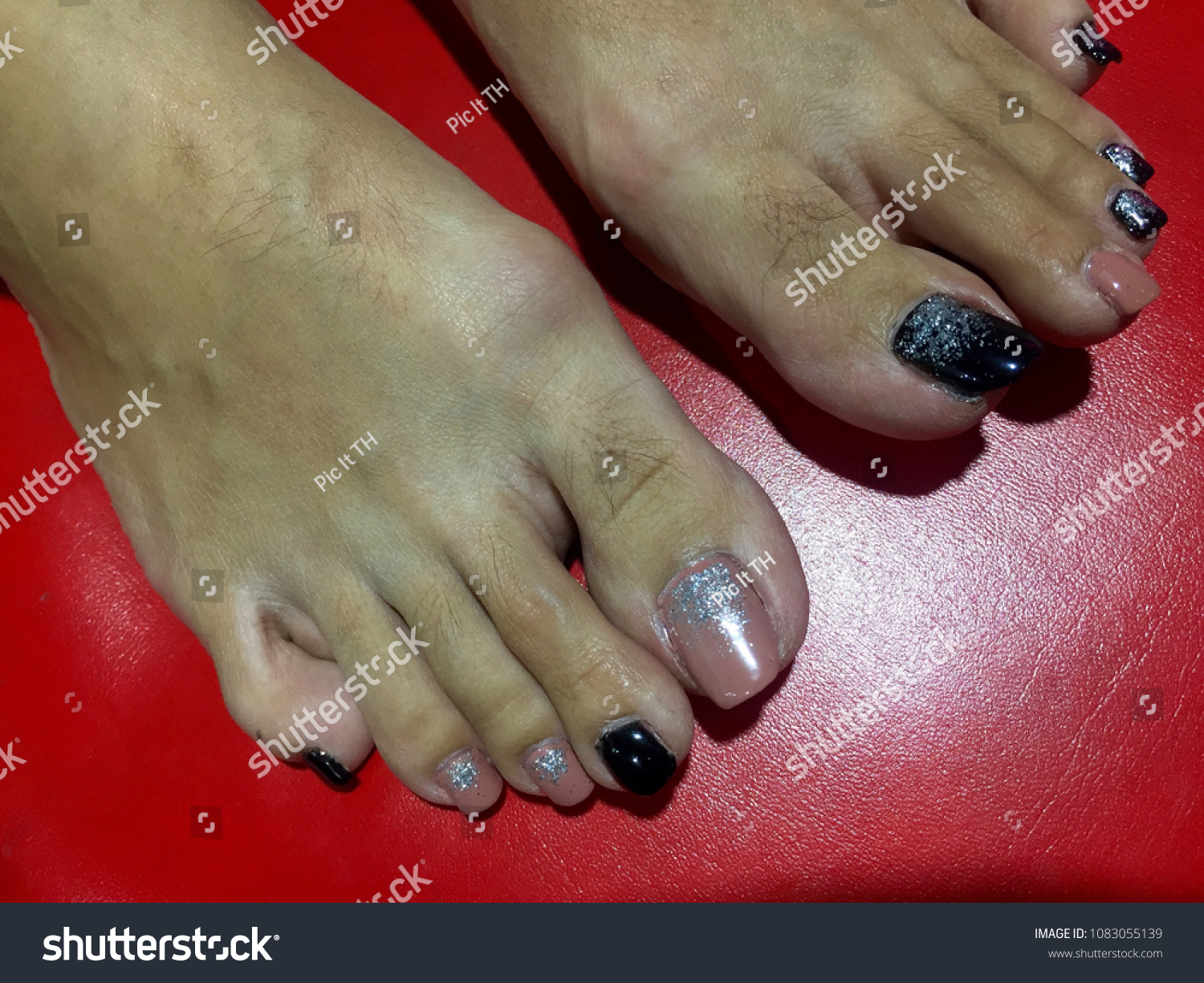 Nails Art Womens Feet Nice Pink Stock Photo Edit Now 1083055139 Nail Black With A Pastel And Pedicure Female