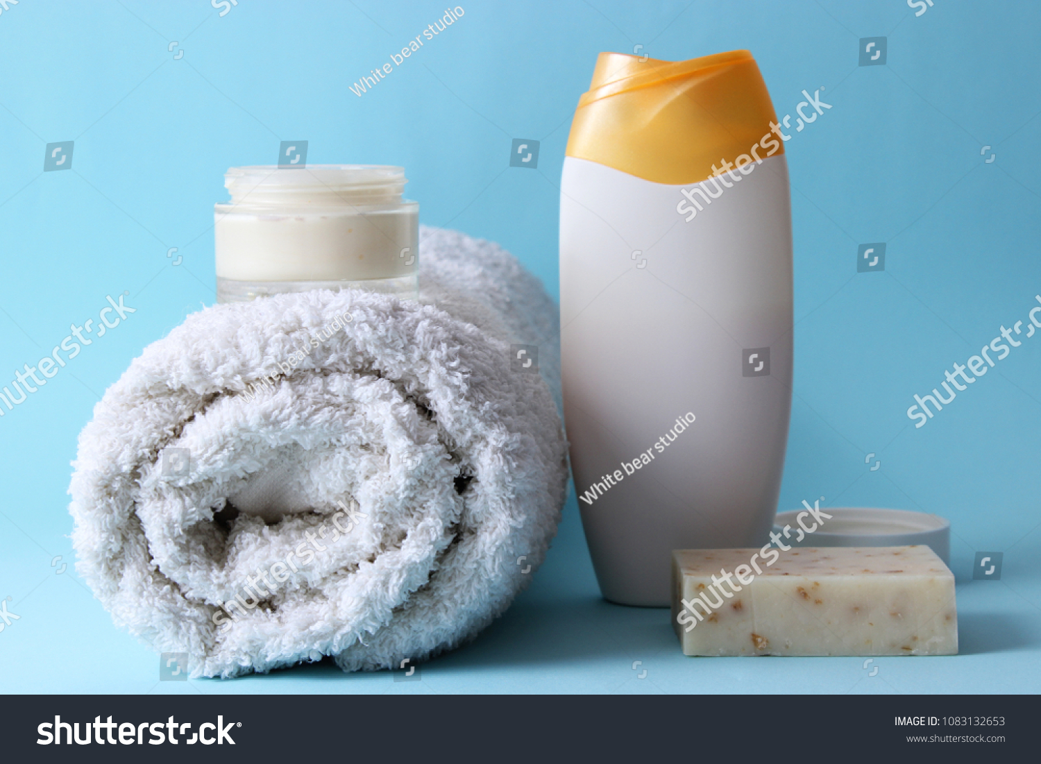 Shower Accessories On Colored Background Towel Stock Photo & Image ...