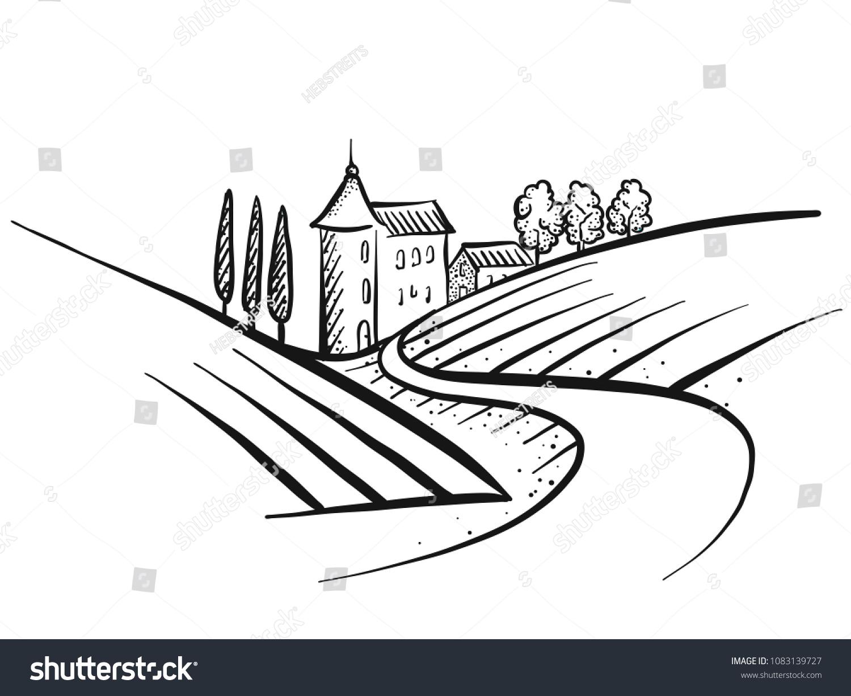 Handdrawn Vector Farmland Sketch Landscape Houses Stock Vector (2018 ... for Farmland Sketch  587fsj