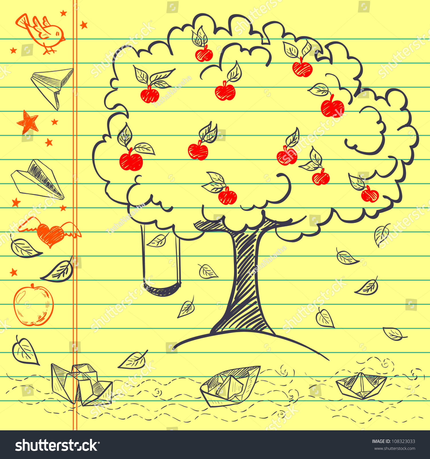 Hand Drawn Sketch On Lined Yellow Vector 108323033 – Yellow Notebook Paper Background
