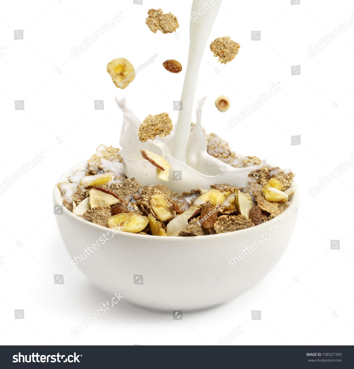 Cereal Milk Pouring Into White Bowl Stock Photo 108327395