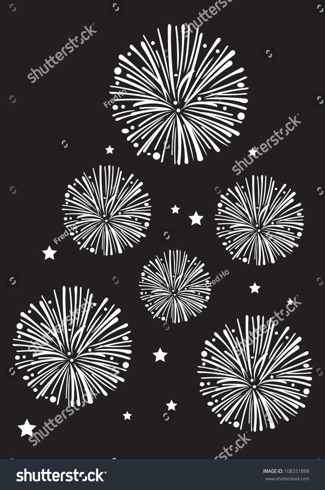 Black White Fireworks Vector Stock Vector 108331898 ...