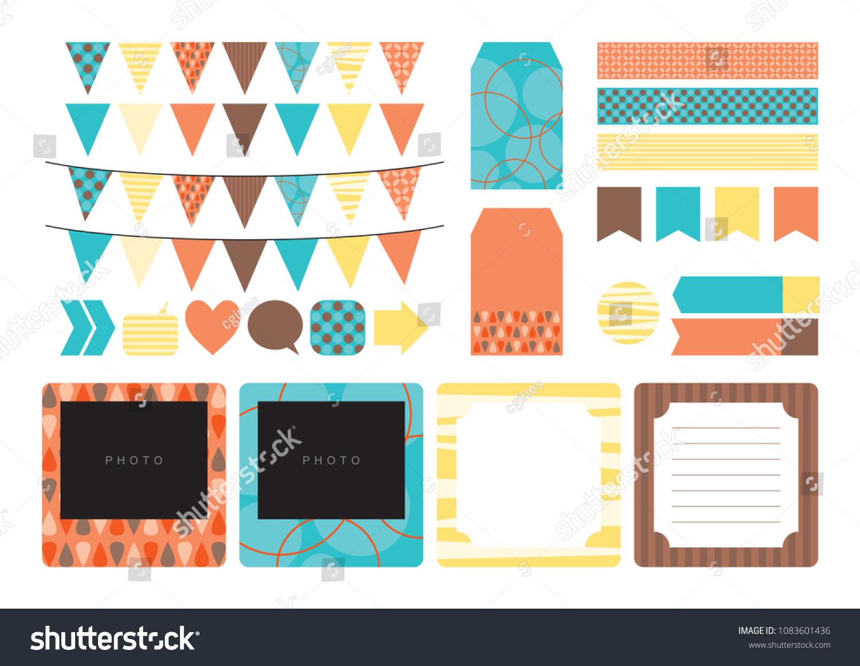 funky scrapbook printable design elements stickers stock vector