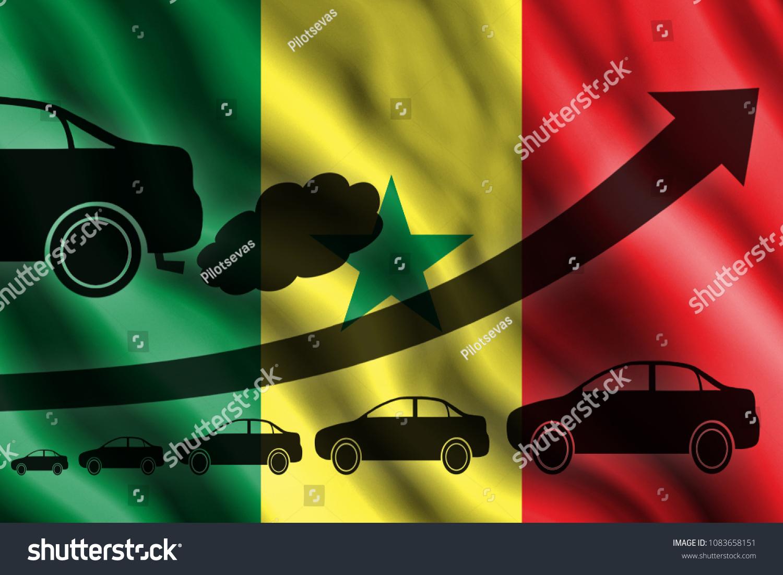 Growth Chart Arrow Car Silhouettes Exhaust Stock