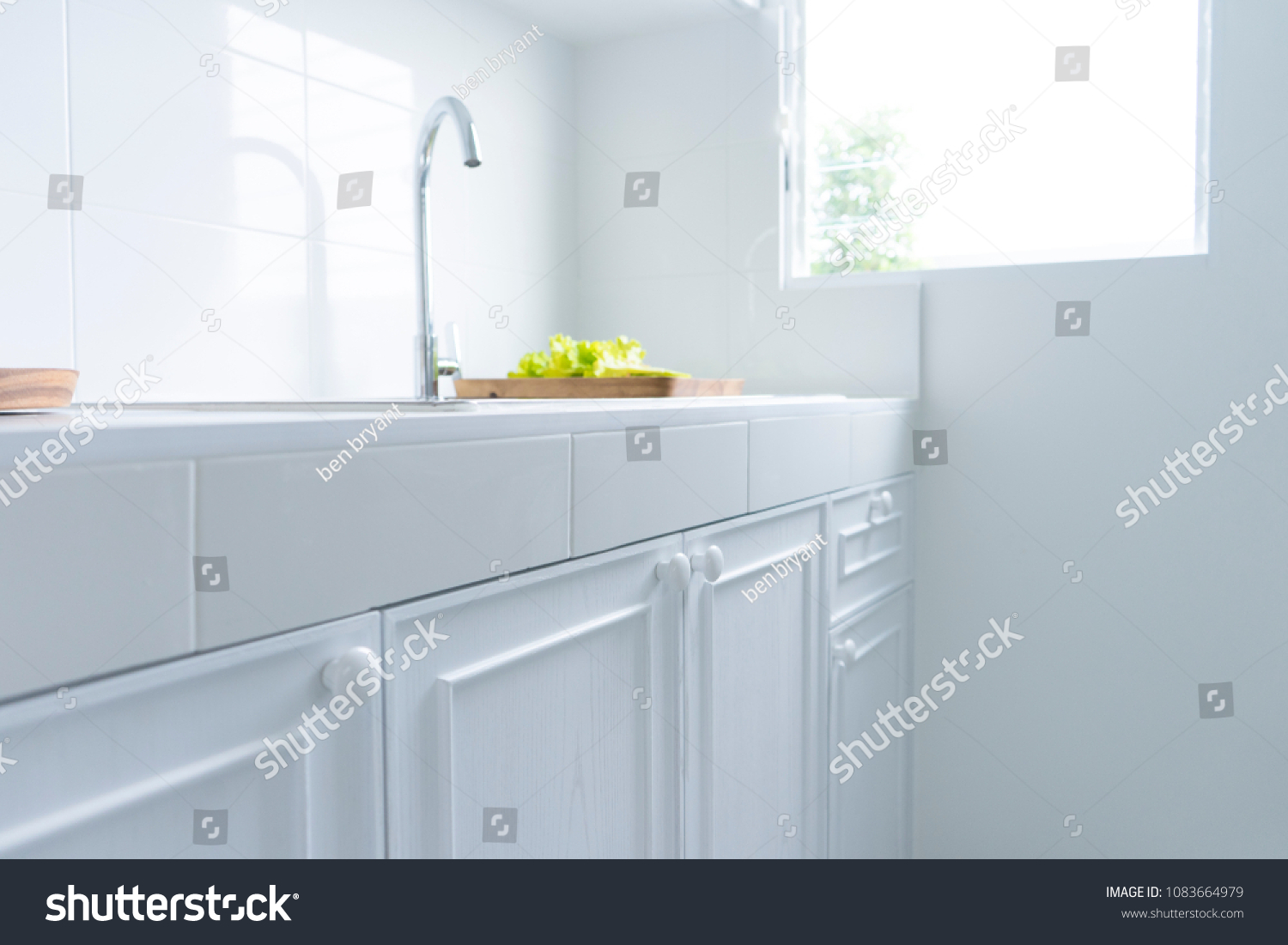 White Kitchen Cabinets Modern Cabinets Handles Stock Photo Edit Now 1083664979