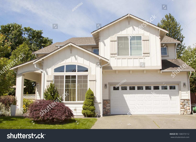 Luxurious Modern American New House Blue Stock Photo