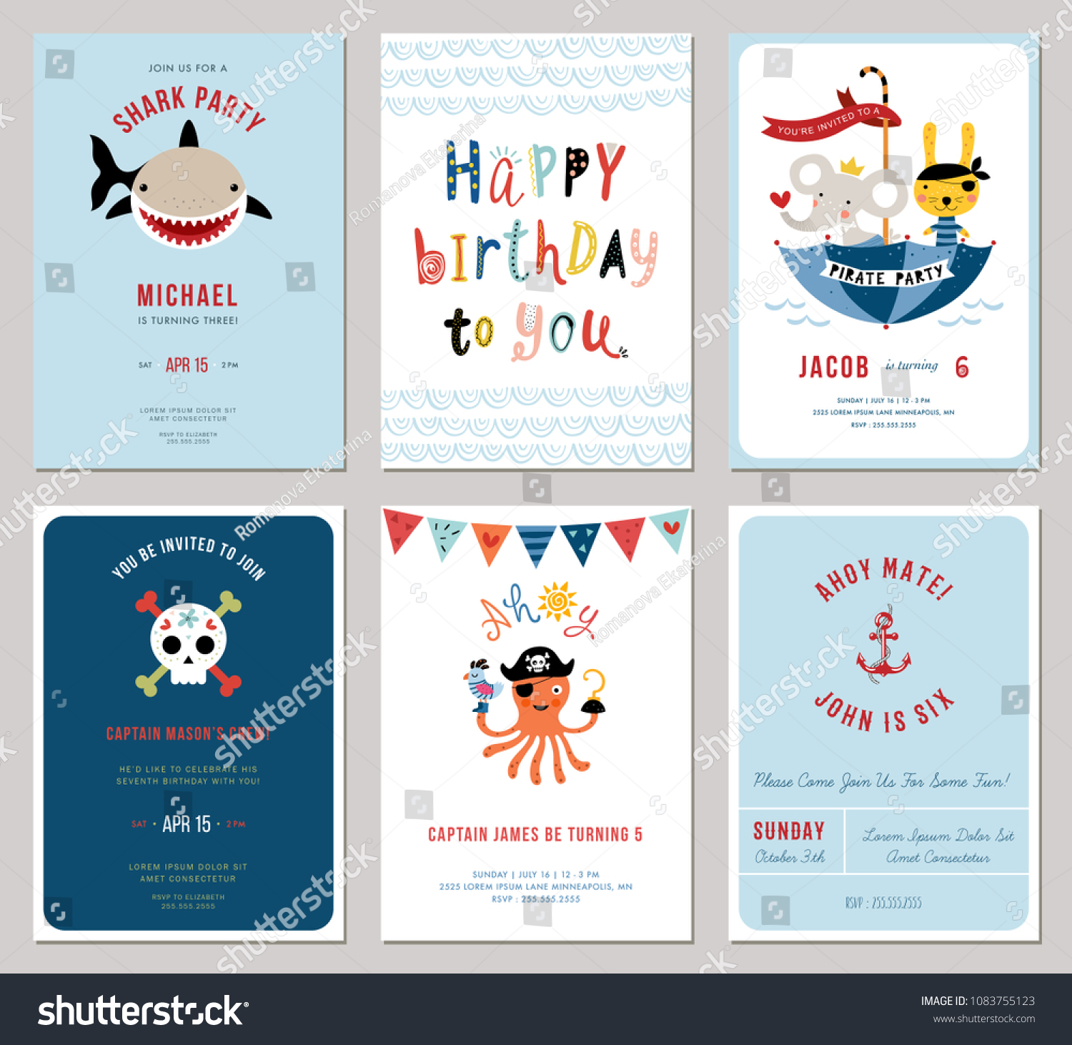 Birthday Boy Invitation Cards Set Little Stock Vector
