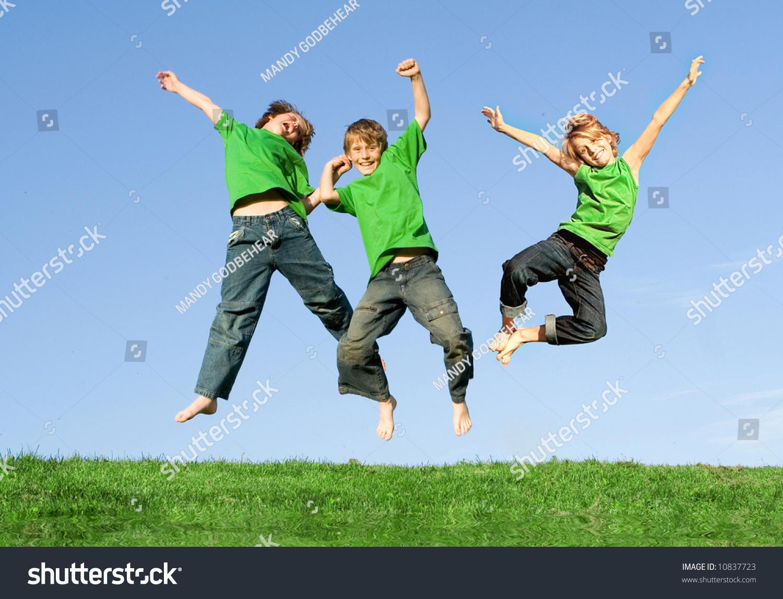 happy kids jumping joy stock photo 10837723 shutterstock
