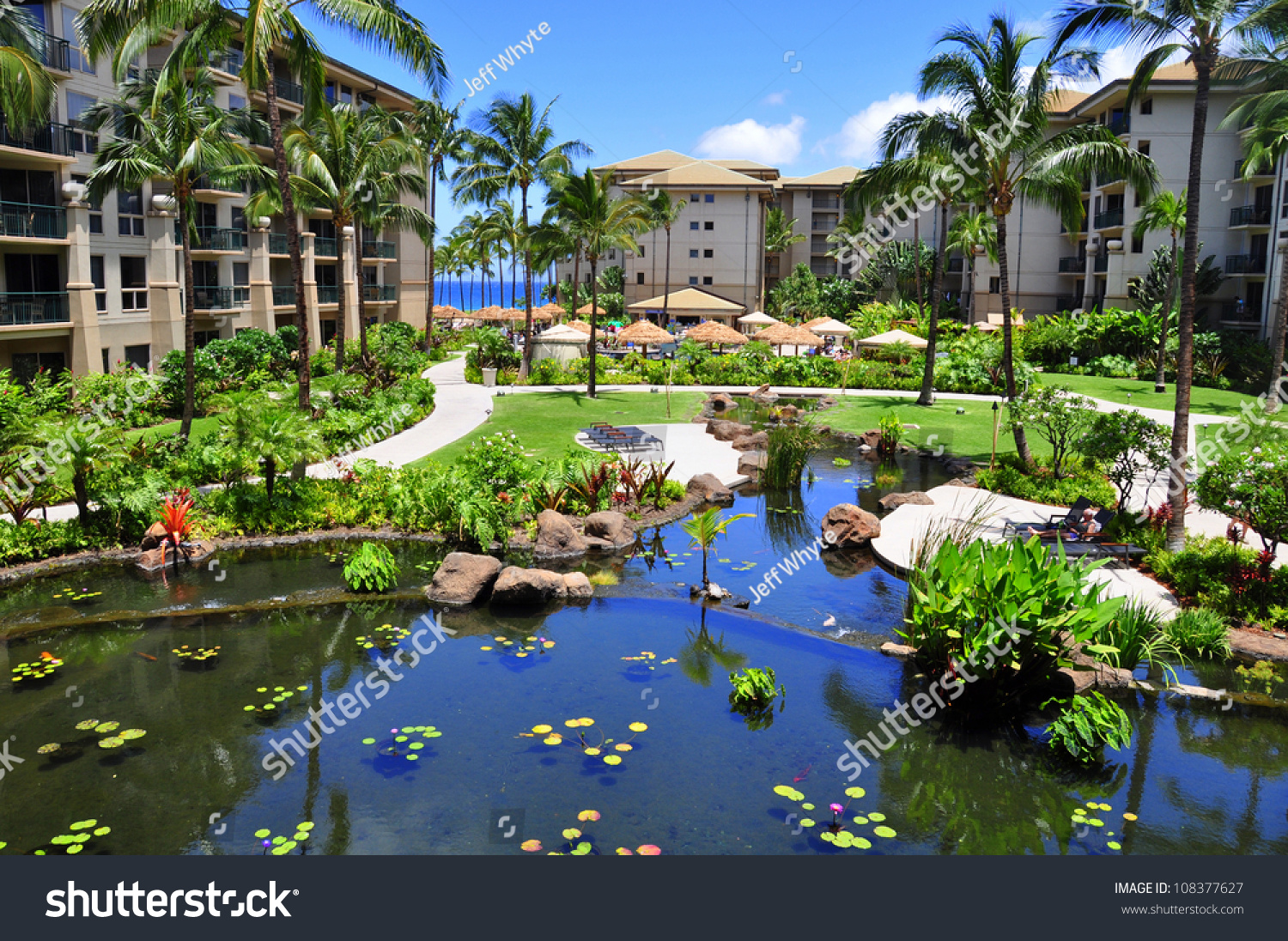 View of luxury hotel kaanapali maui hawaii stock photo for Best luxury hotels in maui