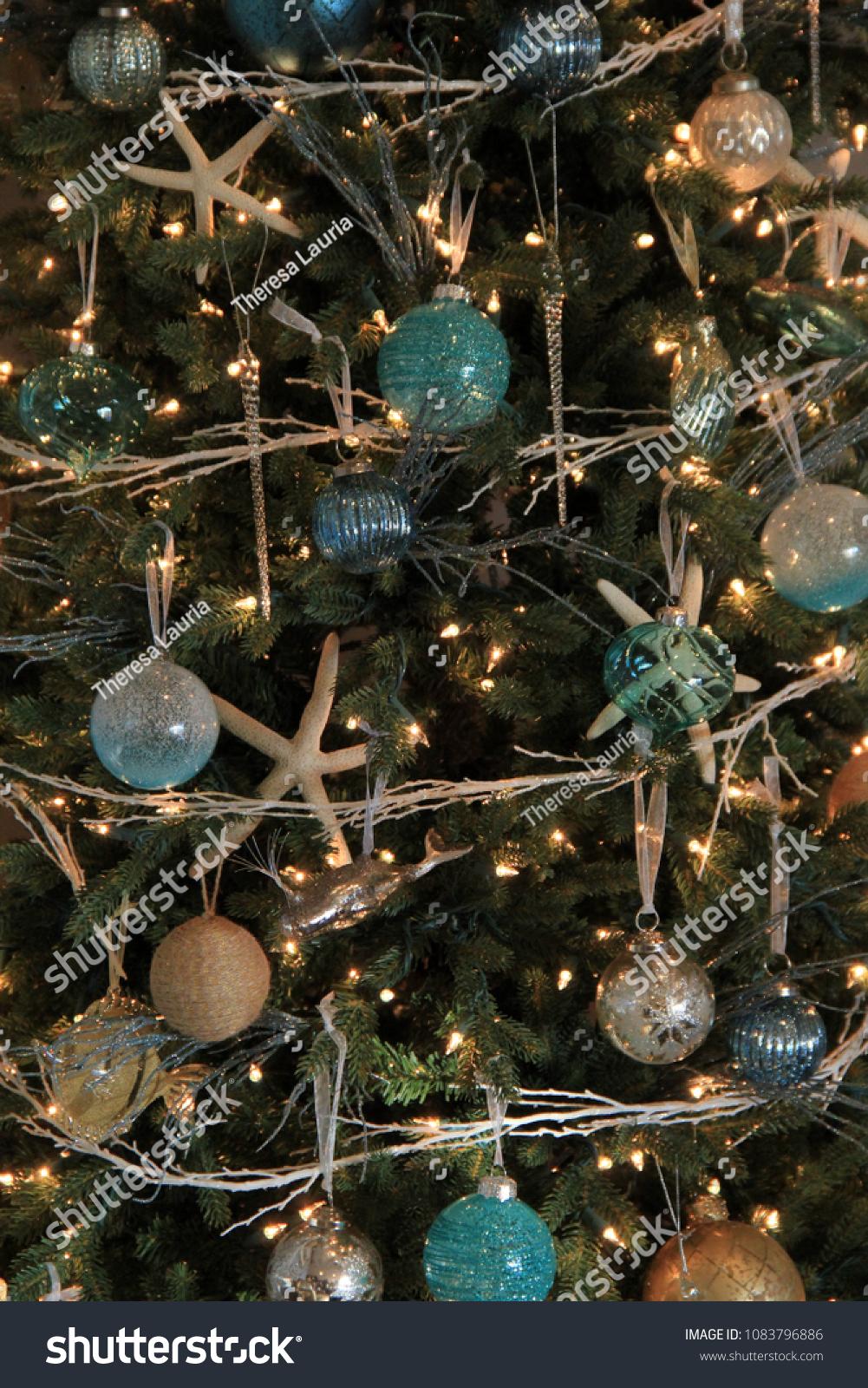 Nostalgic Scene Christmas Tree Decorated Seashore Stock Photo Edit