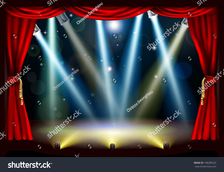 Red curtain spotlight - A Spotlight Theatre Stage With Coloured Spotlights And Red Stage Curtain Drapes