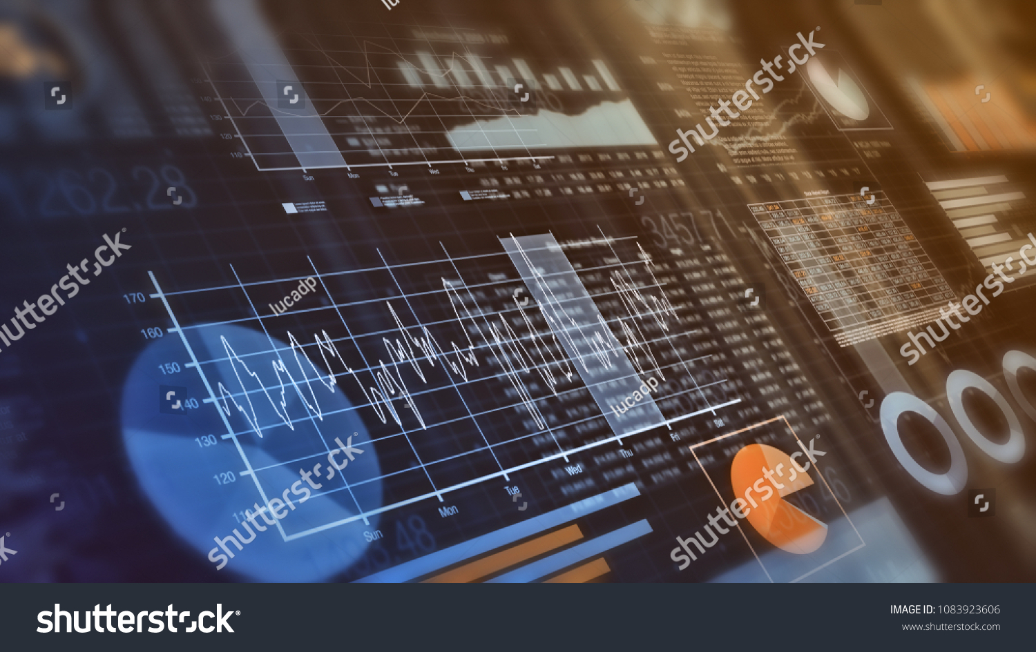close-up view of financial graphs, bar, circle and line charts (3d render)