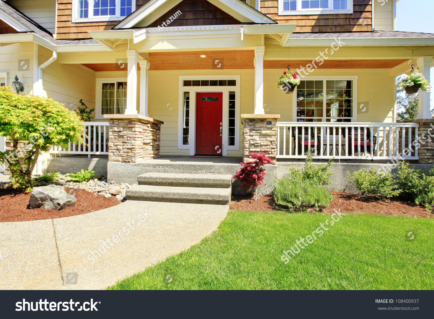 front porch american house red door stock photo 108400937