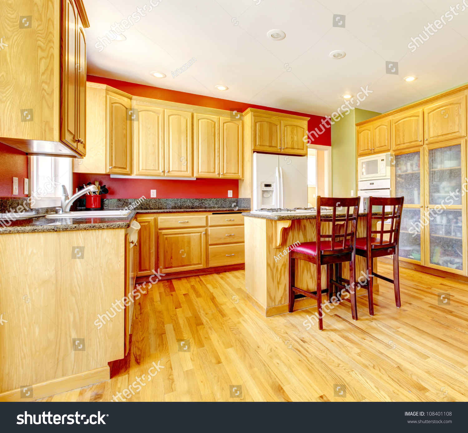 Red And Yellow Kitchen: Yellow Kitchen With Island And Yellow Wood With Red And