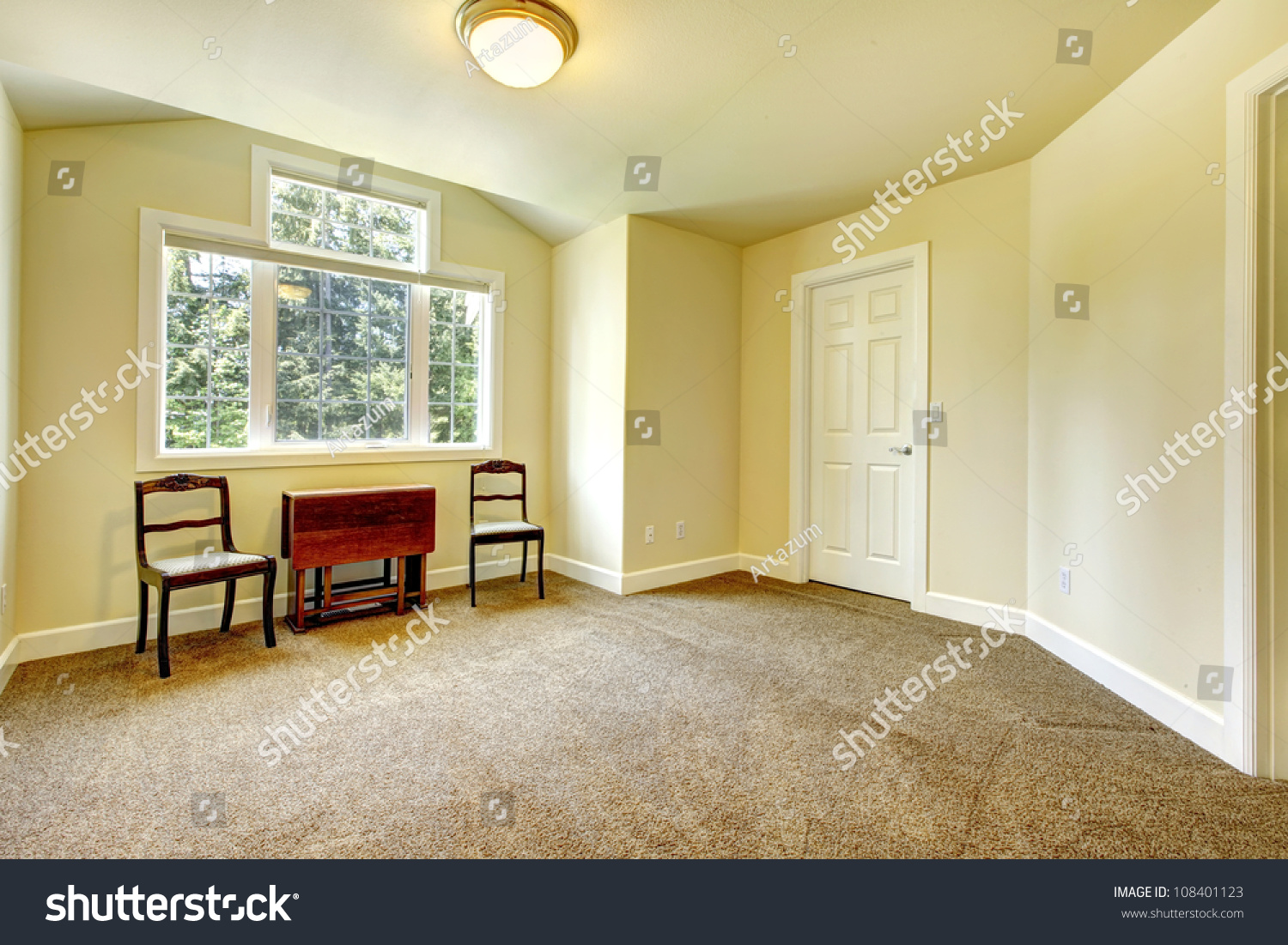 New Empty Room Yellow Walls Brown Stock Photo (Safe to Use ...
