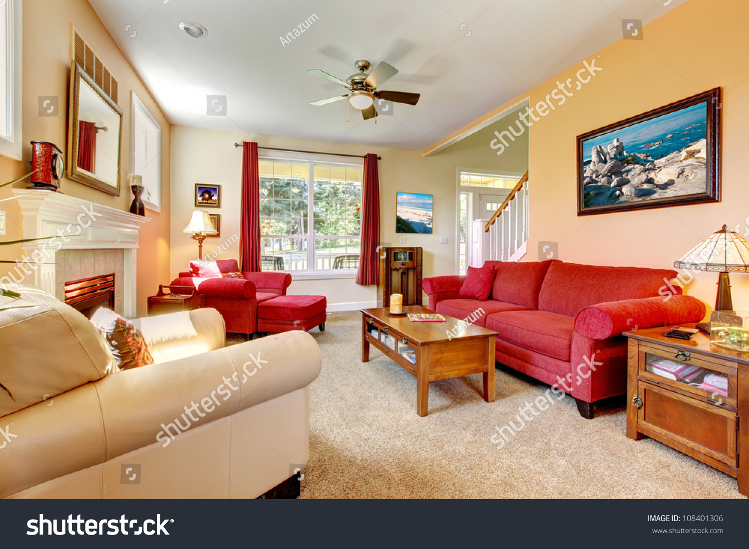 Cozy Classic Peach Red Beautiful Living Stock Photo