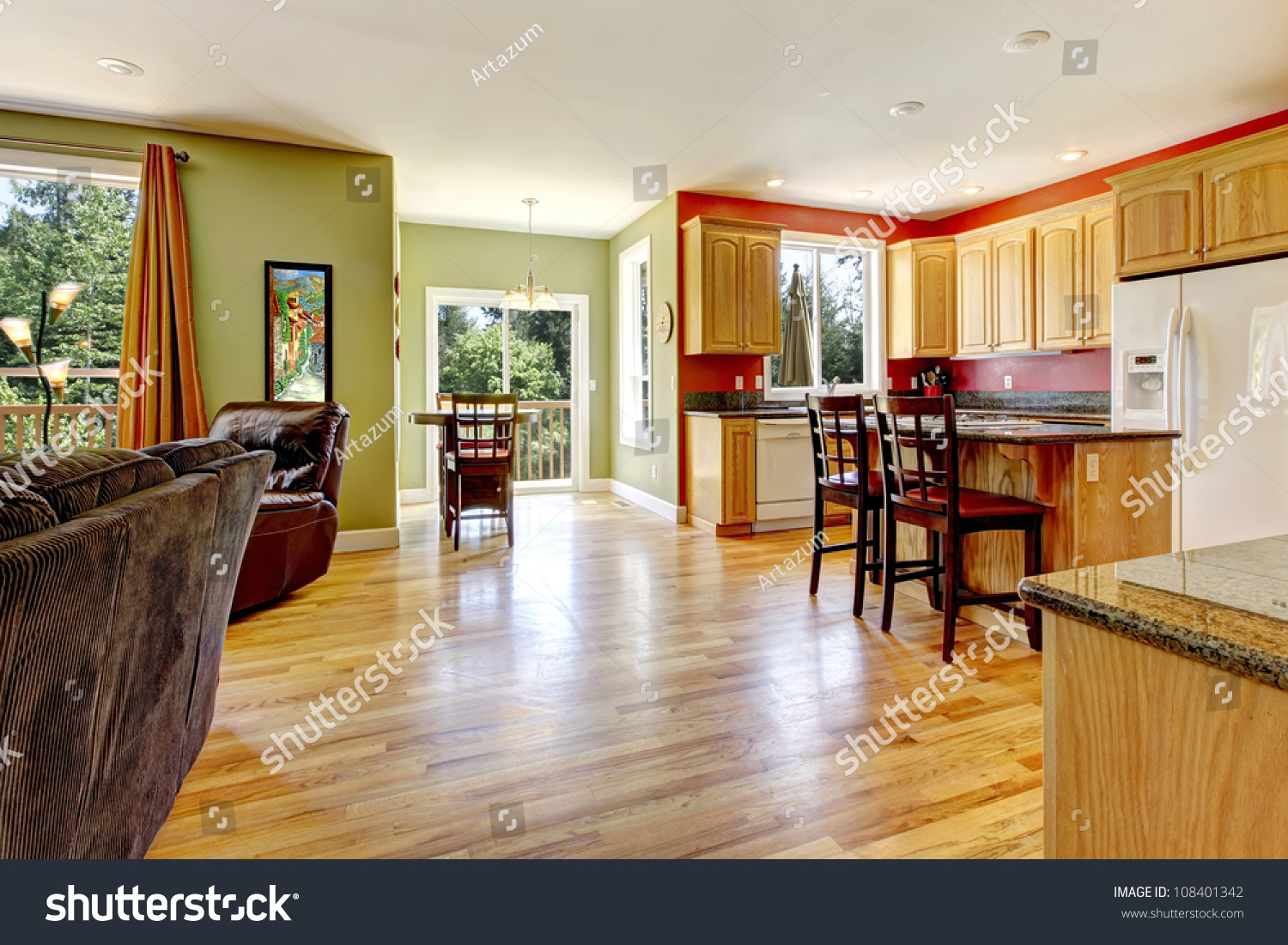 Kitchen Yellow Wood Floor Green Wall Stock Photo 108401342