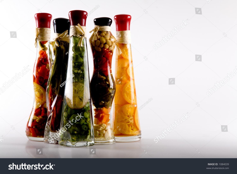 Ornamental bottles - Decorative Bottles With Sealed Colorful Fruits And Vegetables Inside
