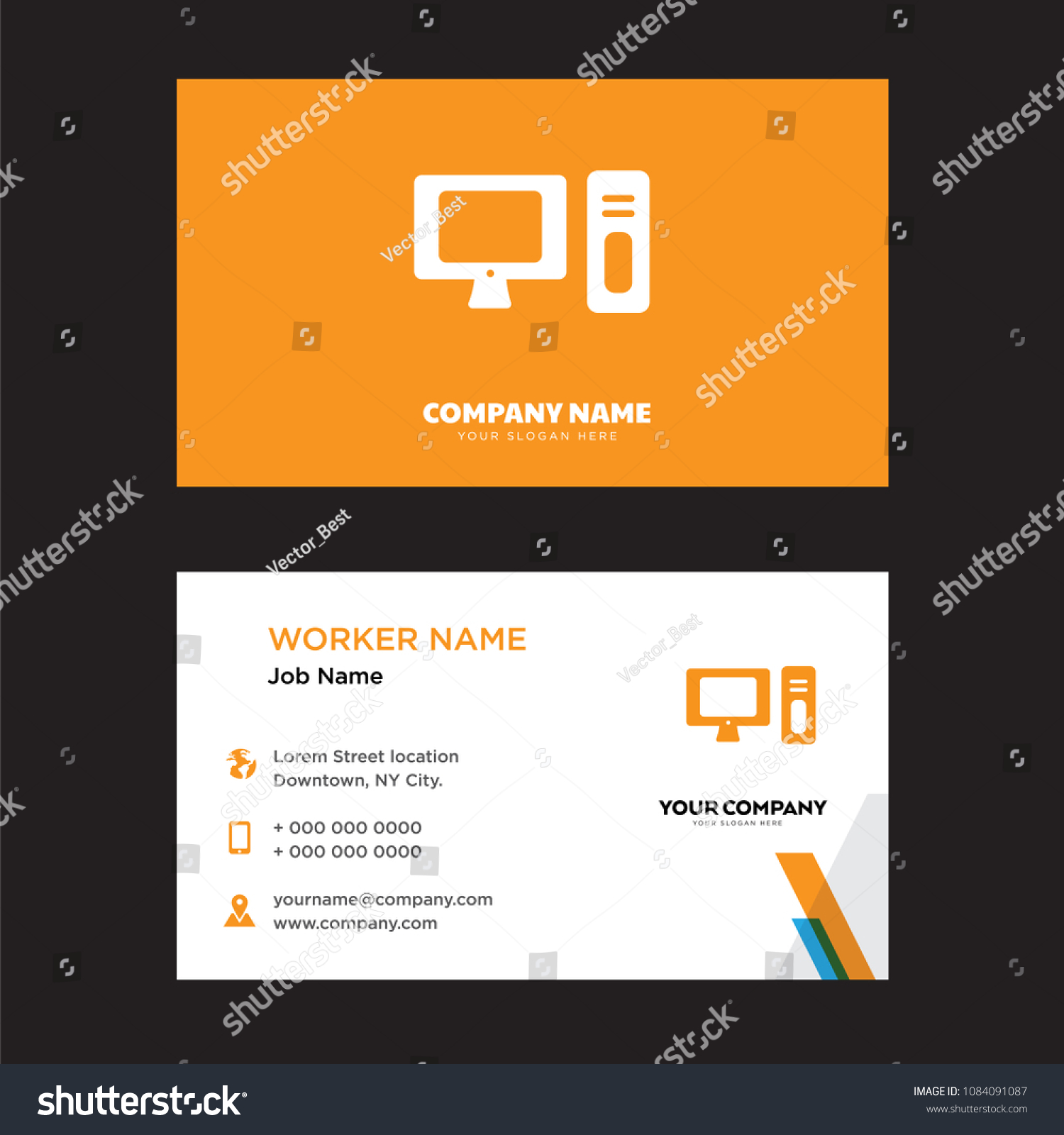 Computer Business Card Design Template Visiting Stock Photo (Photo ...