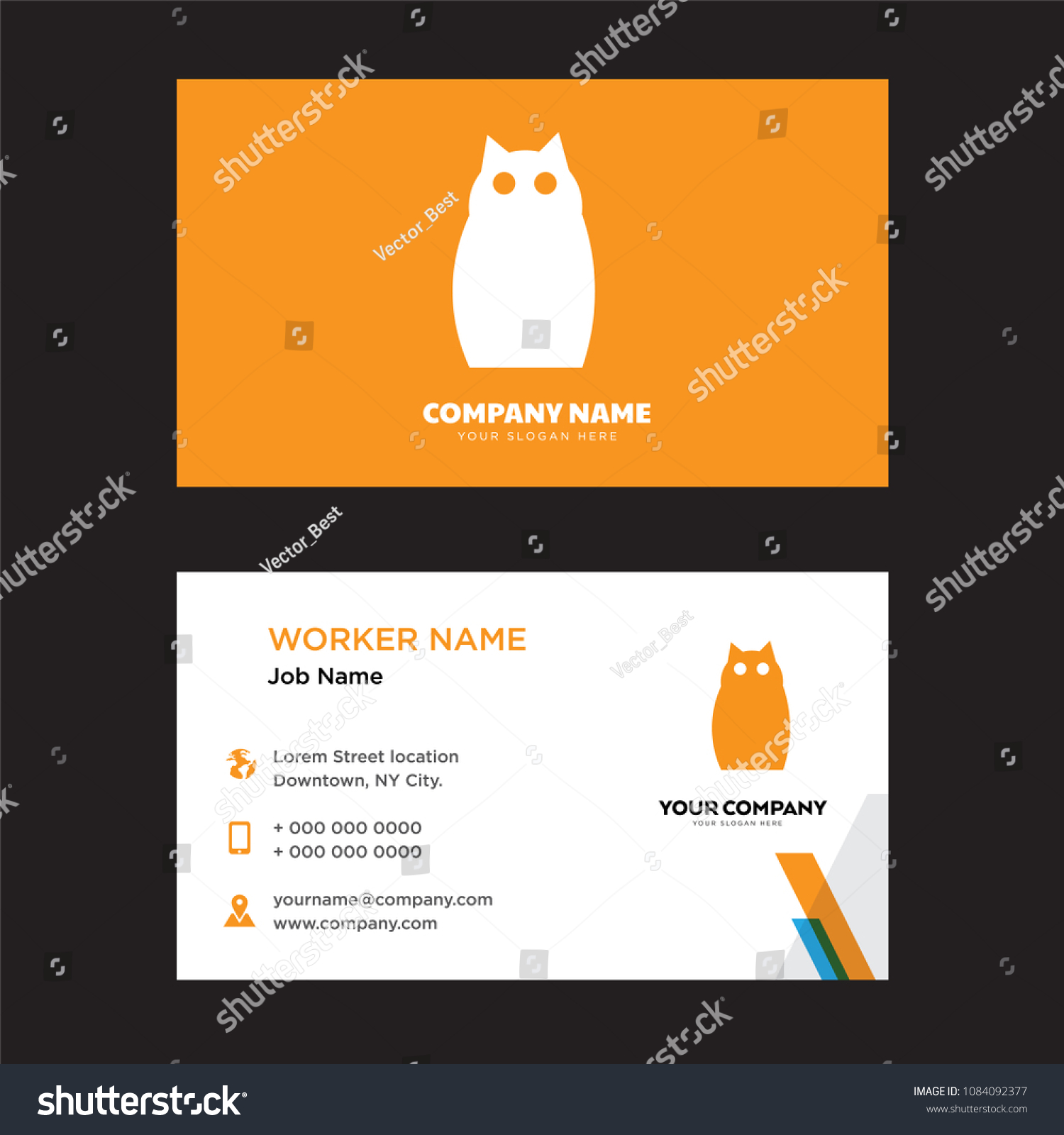 Owl Business Card Design Template Visiting Stock Vector 1084092377 ...