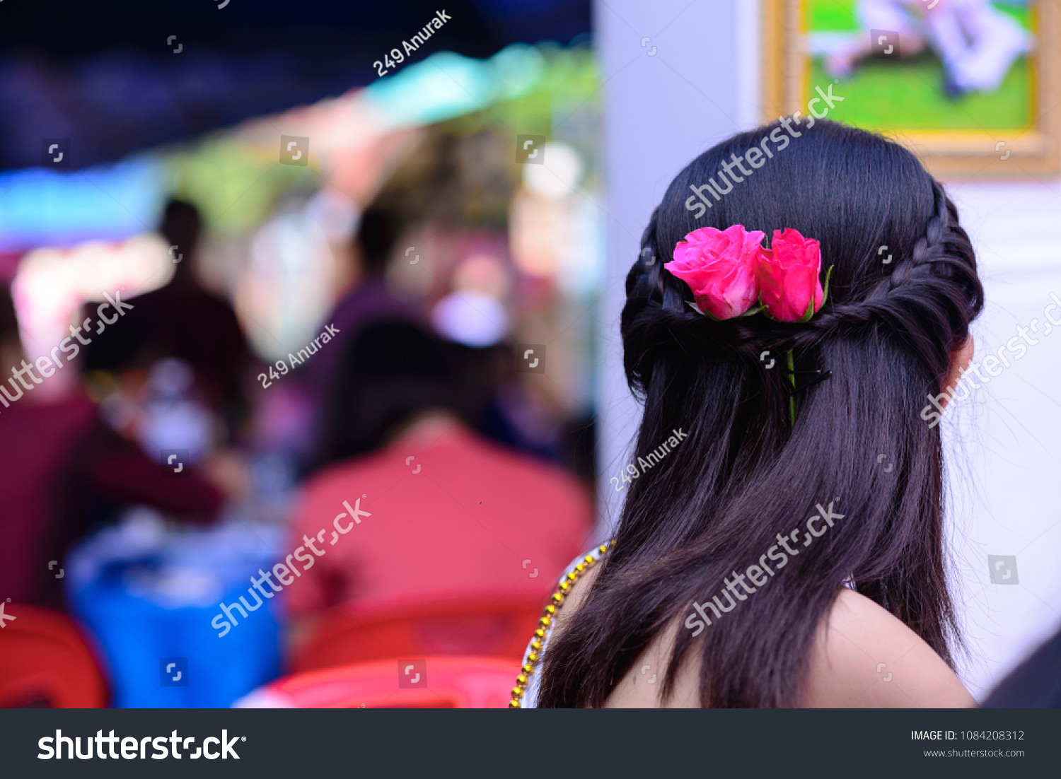 Red Roses Embroidered On Hair Beauty Stock Photo Edit Now