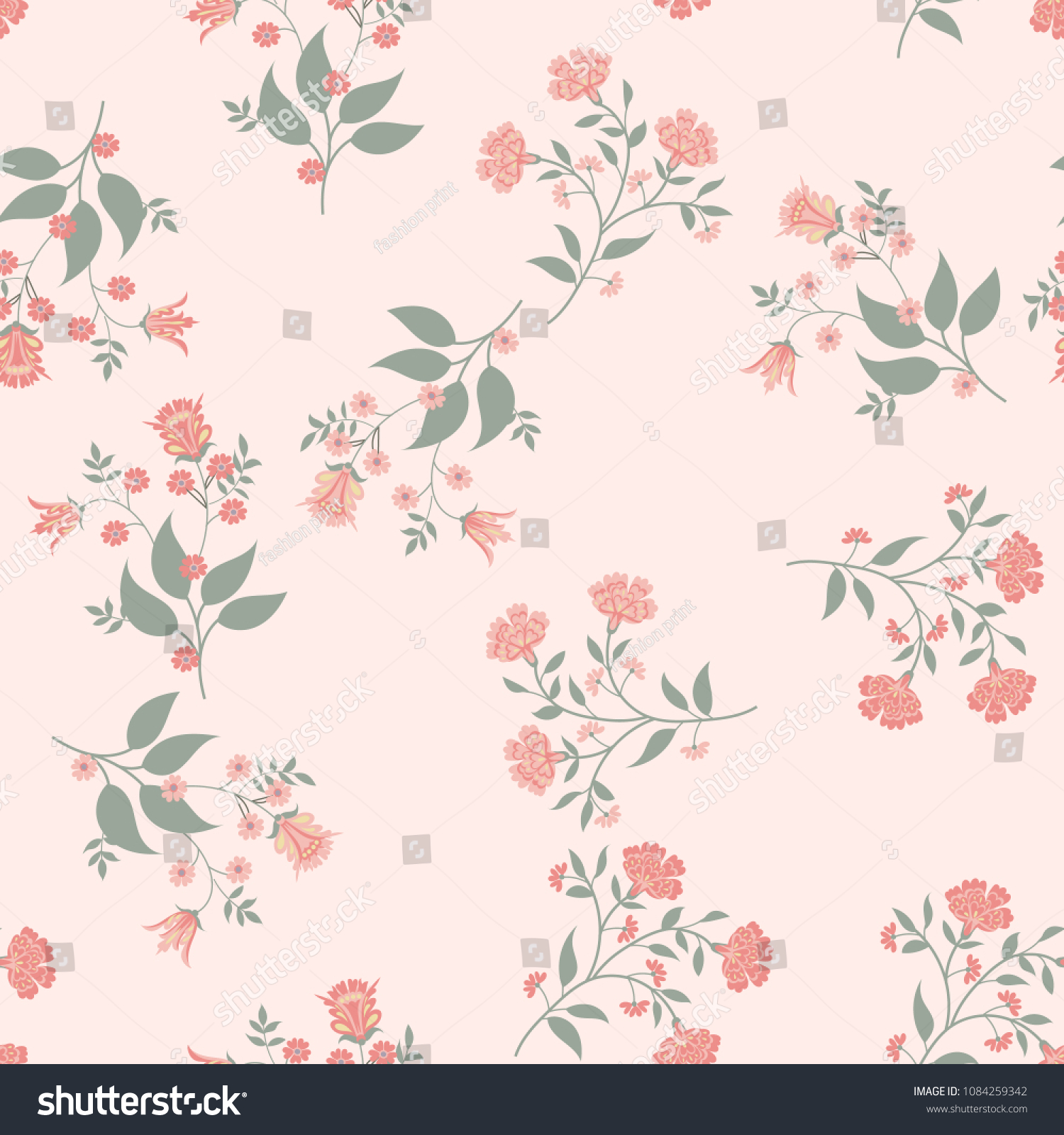Orient Seamless Floral Pattern Small Indian Stock Vector Royalty