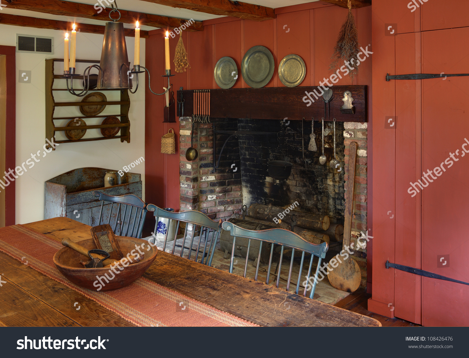 Dining room primitive colonial style reproduction stock for Reproduction homes