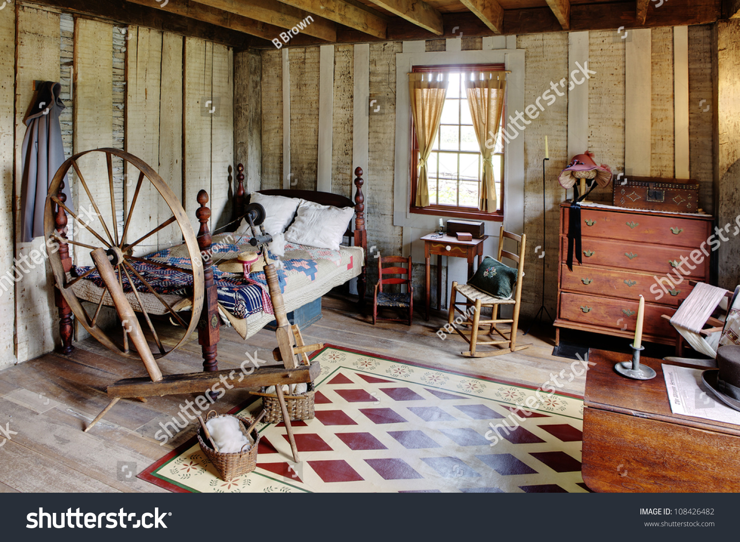 Bed room primitive colonial style reproduction stock photo for Reproduction homes