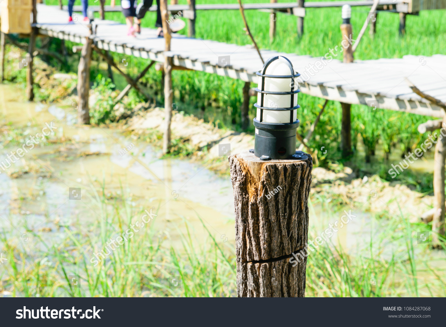Lamp On Wood Pole Stock Photo Edit Now 1084287068 Shutterstock Wiring A Wooden The