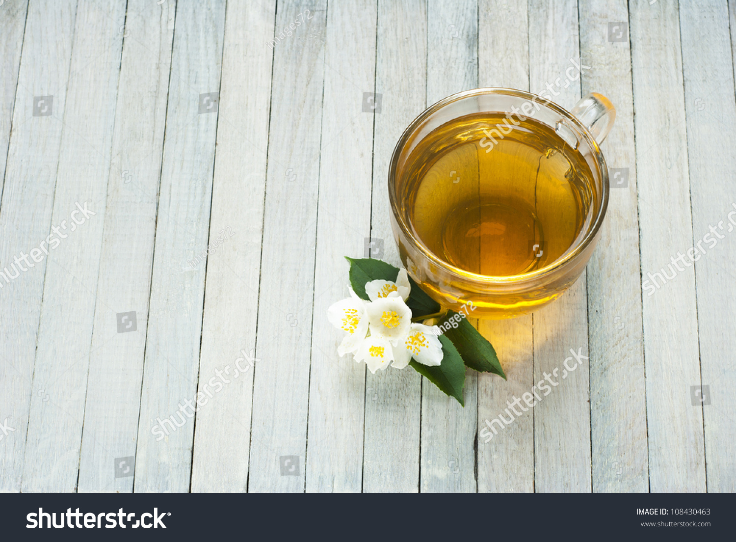 Jasmine Tea Jasmine Flowers On White Stock Photo Royalty Free