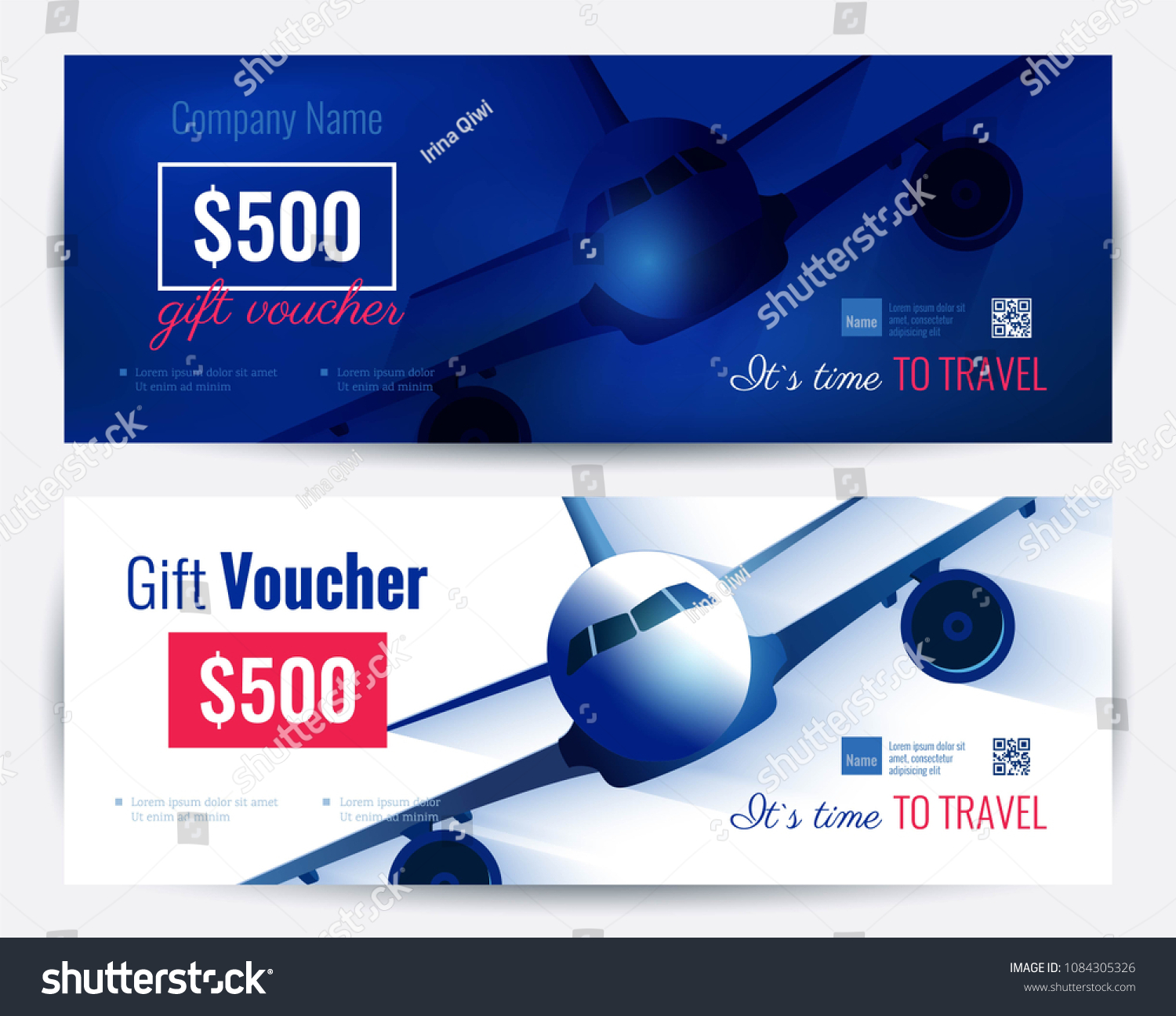 Set Gift Travel Voucher Template Gift Stock Vector Royalty Free