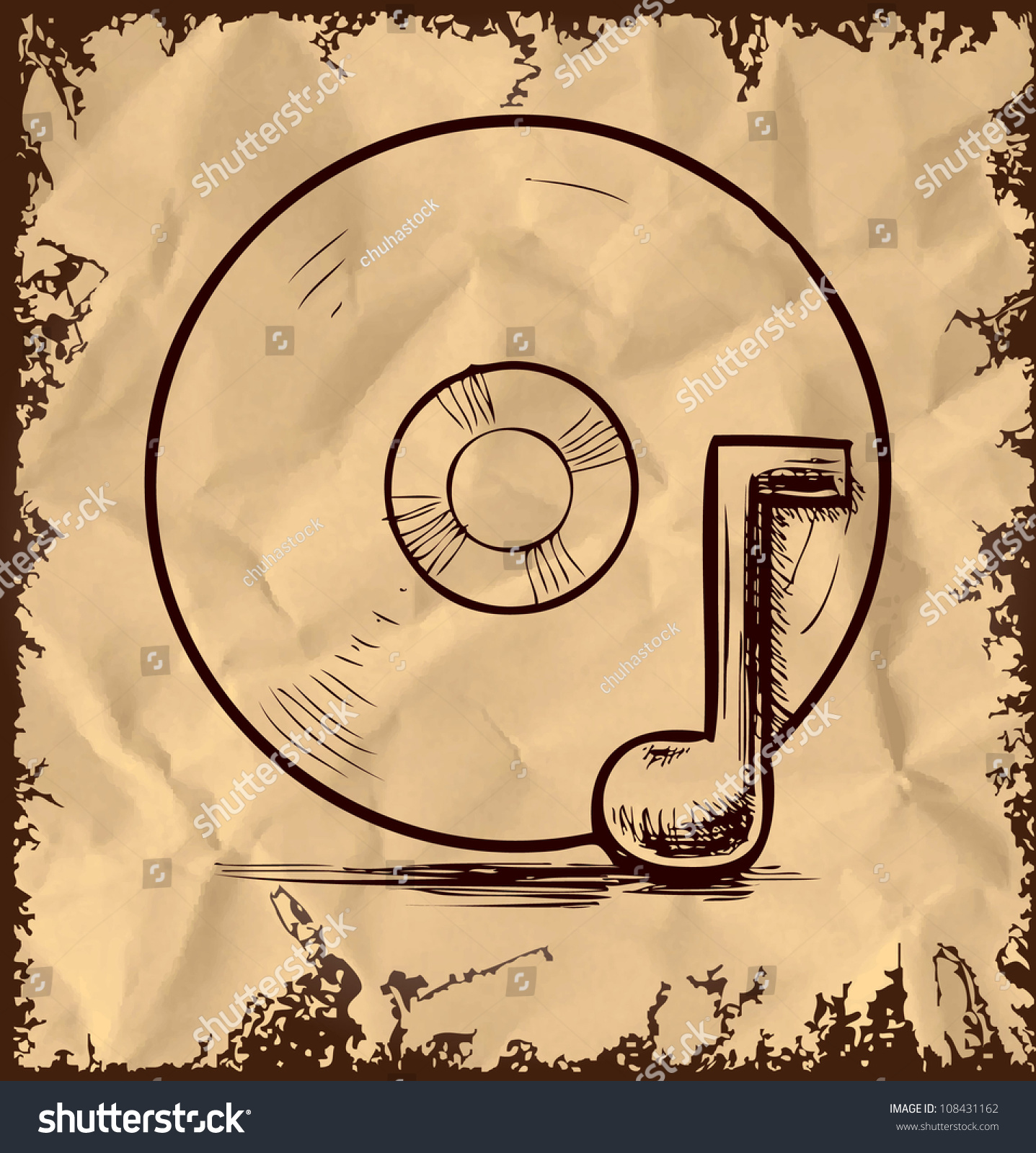 Cd Music Note Isolated On Vintage Stock Illustration 108431162 ...