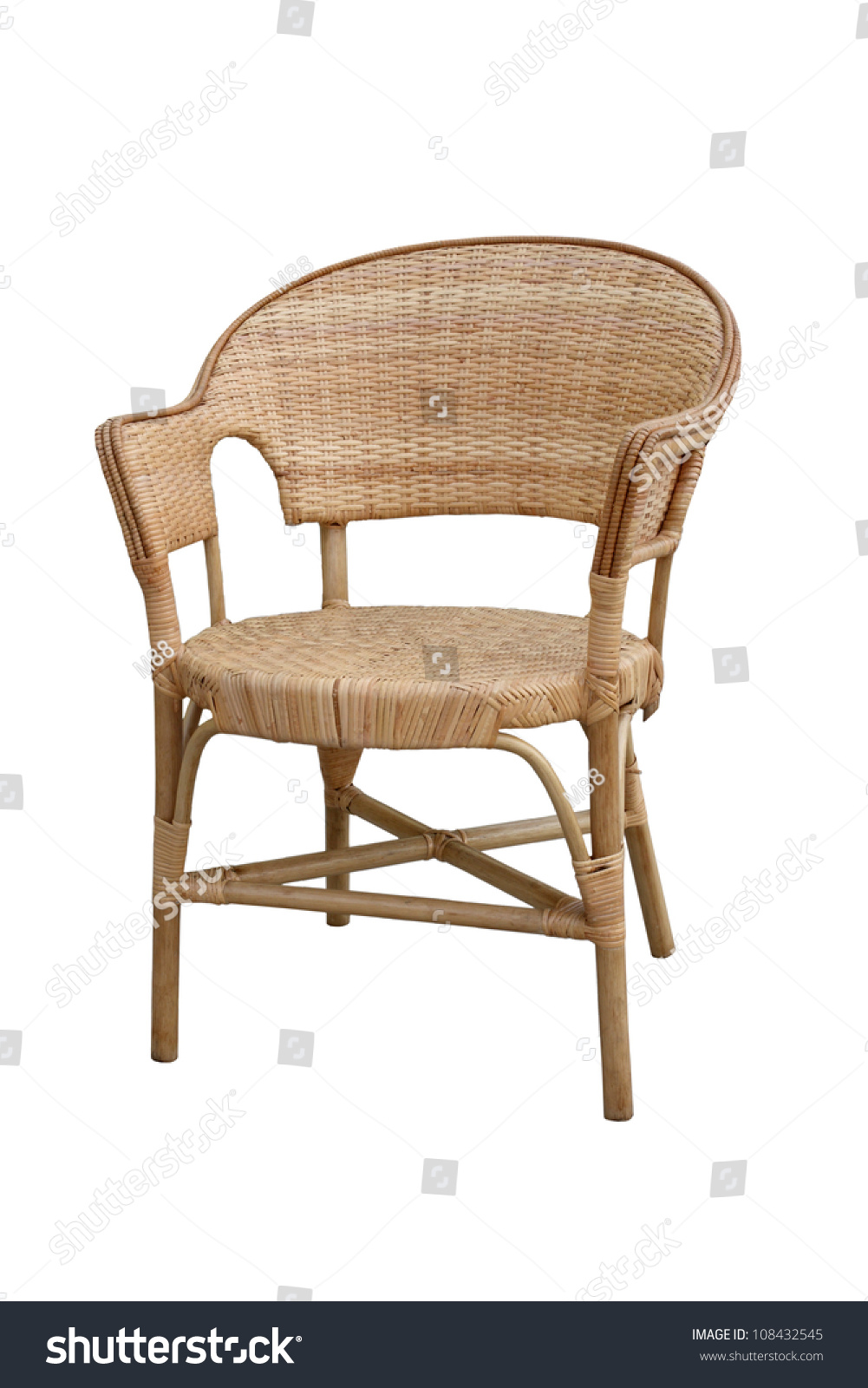 Wicker comfortable chair isolated on white stock photo for White comfy chair