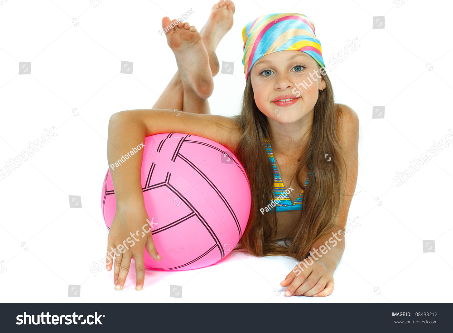 Cute Little Girl In Swimming Suit With A Ball, Isolated On ...